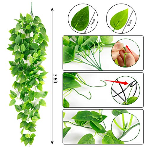 AGEOMET 3pcs Artificial Hanging Plants, 3.6ft Fake Hanging Plant, Fake Ivy Vine for Wall House Room Indoor Outdoor Decoration (No Baskets)