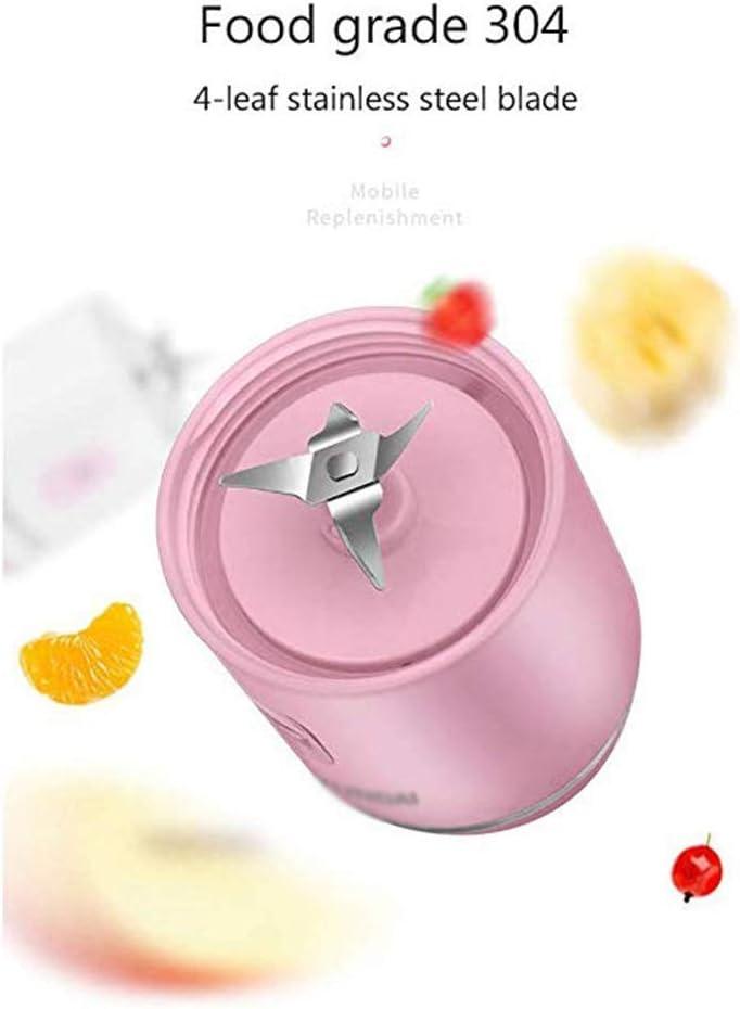 ECSWP Copa Exprimidor portátil USB Mini Travel Fruta, Jugo de Personal eléctrico pequeño Mezclador Licuadora Máquina de la batería Recargable (Color : Pink) White