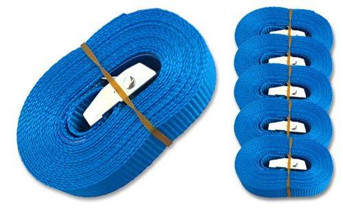 MGS SHOP 6 Spanngurte Zurrgurte 250 Kg 4 m mit Klemmschloss Schnellspannung Farbe wählbar (blau)