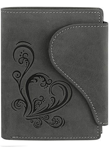 Harrys-Collection Damen Portemonnaie in Vintage mit Herz Special-Edition, Größen:Einheitsgröße, Farben:schwarz