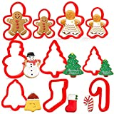 Orapink - Juego de cortadores de galletas de Navidad - 10 piezas de plástico Gingerbread Boy2, Gingerbread Girl2, Christmas Tree2, Beckoning Snowman1, Bell1, Christmas Stocking1, Candy Cane1.