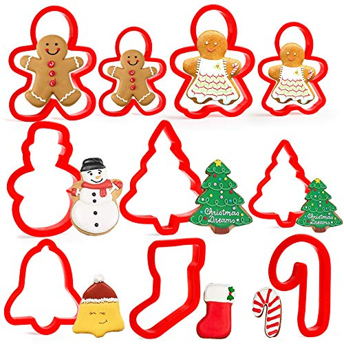 Olywee - Set di 10 formine per biscotti natalizi in plastica con pan di zenzero Boy2, albero di Natale 2, pupazzo di neve Beckoning 1, campanella1, calza di Natale1, cannuccia di caramella1
