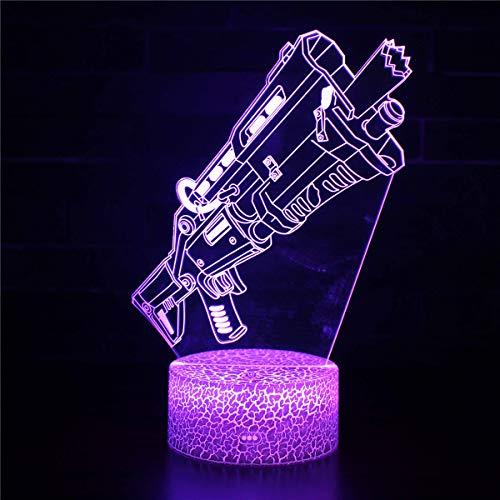 3D noche luz 3D LED ilusión lámpara armas de fuego C 3D ilusión lámpara 16 colores cambiantes deporte ventilador decoración habitación niños idea
