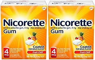 Nicorette Nicotine Gum to Stop Smoking, 4 mg, Fruit Chill, 160 count (Pack of 2)
