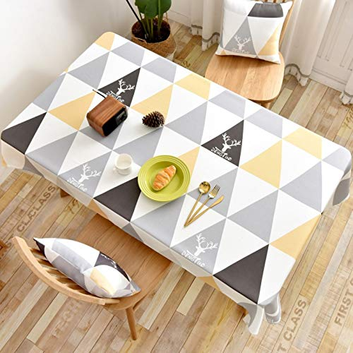 WSJIABIN Home Decor Tablecloth Nordic Coffee Table Cloth Rectangular Christmas Elk Geometric Yellow Triangle Waterproof and OilproofTable ClothCover Towel Tablecloth