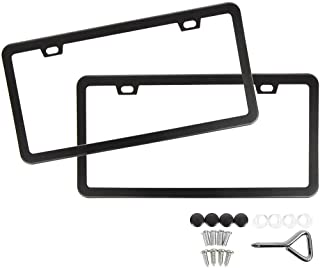 SunplusTrade License Plate Frame Black Matte Powder Coated Aluminum with Screw Caps (2..