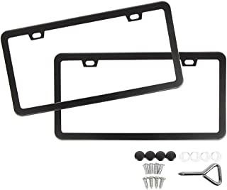 SunplusTrade License Plate Frame Black Matte Powder Coated Aluminum with Screw Caps (2 Pieces)