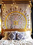 Sketched Floral Medallion Tapestry Gold Indian Headboard Wall Hanging Home Decor,60'x 80',Twin Size