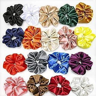 DKB Silky Satin Scrunchies Ponytail Holders for Girls, Women (Pack of-12) Multicolor