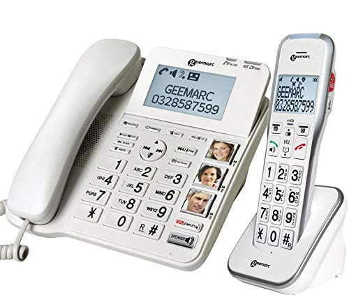 Geemarc Amplidect 595 Combi - Corded Phone + Cordless Handset - Amplified (50dB) Loud Phone with Big...