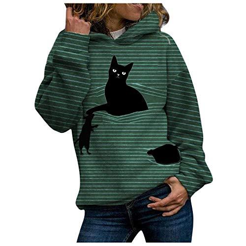 VEMOW Sudadera con Capucha para Mujer Sudadera Mangas largas, 2021 Nuevo Elegantes Moda Estampado de 3D Pata de Gato Color Sólido Suelto con Bolsillos Camisetas Chica Grandes(A Verde,5XL)