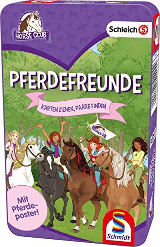 Schmidt Spiele 51424 Pferdefreunde, Kartenspiel in der Metalldose, Schleich Horse Club, bunt