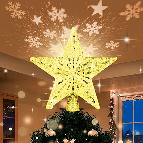 Christmas Tree Topper Lighted Gold Star Tree Topper with LED Rotating Star and Snowflake Projector, 3D Glitter Tree Star Topper for Christmas Tree Decorations Holiday Party Decor