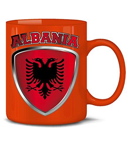 Golebros Albanien Albania Shqipëri Fan Artikel 3330 Fuss Ball Europa World Cup EM 2020 WM 2022 Kaffee Tasse Becher Geschenk Ideen Fahne Flagge Rot