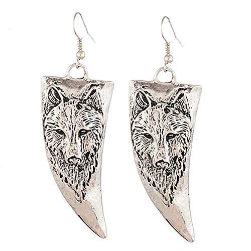 Retro Horn-shaped Wolf Head Decoration Earrings Copper Silver,Colour:Silver Bracelets Earrings Rings Necklaces (Color : Silver)
