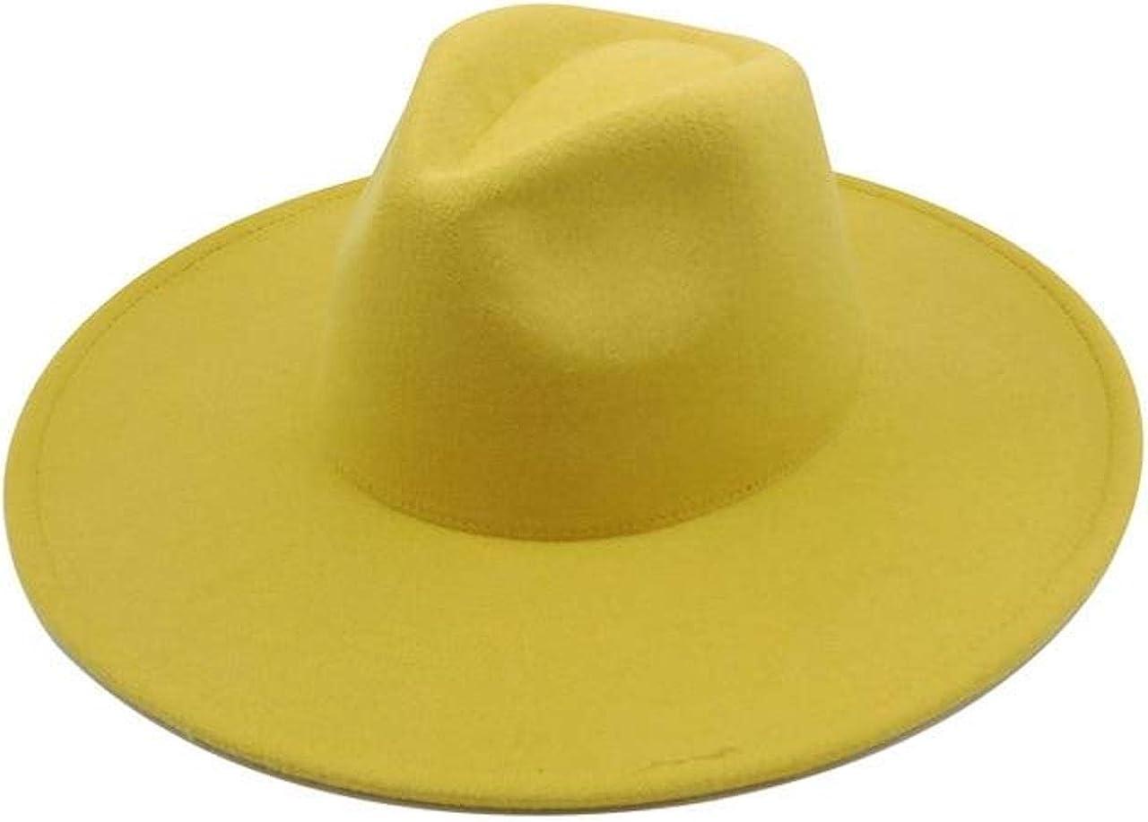 Yellow Classic Wide Brim Fedora Hat