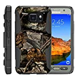 TurtleArmor | Compatible with Samsung Galaxy S7 Active Case | G891A [Hyper Shock] Hybrid Dual Layer Armor Holster Belt Clip Case Kickstand - Tree Leaves Camouflage