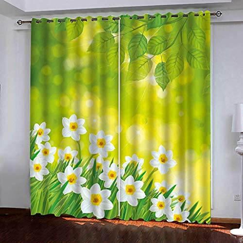 JMHomeDecor Cortinas Opacas Súper Suaves Hermosas Hojas Verdes Y Flores Blancas Tela De Seda Negra 3D Cortinas con Ojales con Aislamiento Térmico 180 (H) X125 (An) Cmx2