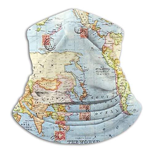 IZOU Map Blue Travel Neck Gaiter Face Mask,Multifunction for Man Women seasons Magic Scarf Bandana Balaclava