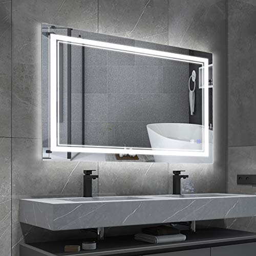 BBE 36x28 Inch LED Bathroom Mirror Vanity Mirror with Dimmable Light 2700K-6000K CRI 90+ Wall-Mounted Anti-Fog for Makeup Hardwire and Plug in (Horizontal/Vertical)