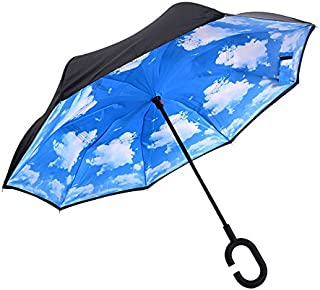 Lihuang Reverse/Inverted Double-Layer Waterproof Straight Umbrella, Self-Standing & C-Shape Handle & Carrying Bag for Free Hands, Inside-Out Folding for Car Use