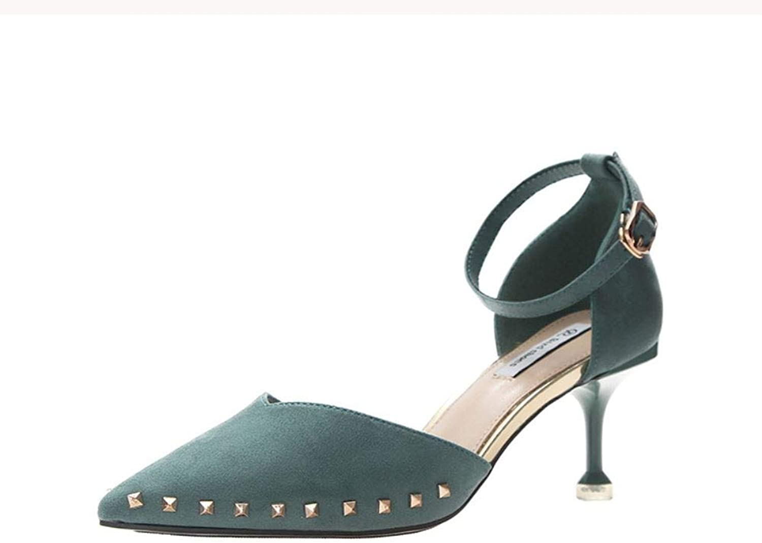 Carriesu 2019 Spring New European and American Pointed Toe Stiletto Heel high-Heeled shoes with Buckle Sandals Female Hollow Wild Women's shoes