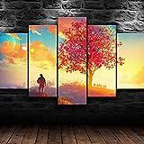 WHYQZ Cuadro En Lienzo 5 Piezas Impresión En Lienzo Arte del árbol de otoño Decoracion Salon Modernos Dormitorio Impresión Pintura Moderna Arte del Hogar Regalo Listo para Colgar