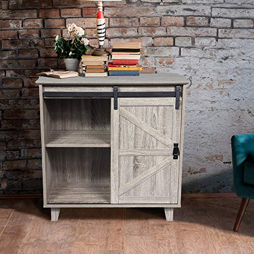 GOOD & GRACIOUS Sideboard, Modern Farmhouse Industrial Entryway Bar Cabinet for Living Room, 2-Tier Sliding Barn Door Kitchen Buffet Storage Cabinet