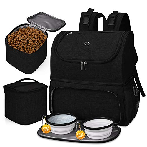 BAGLHER 丨Pet Travel Bag DoubleLayer Pet Supplies Backpack for All Pet Travel Supplies Pet Travel Backpack with 2 Silicone Collapsible Bowls and 2 Food Baskets Patent Pending Black