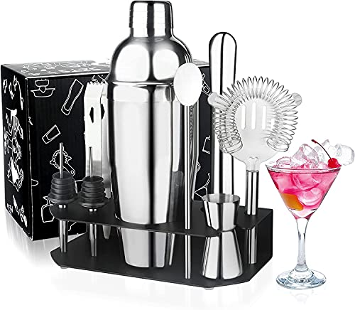 Cocktail Shaker Set, Appolab 24oz Stainless Steel Bartender Mixology Kit with Stand, Martini Margarita Cocktail Bar Set Mix Drink Shaker Kit for Home Bar Party