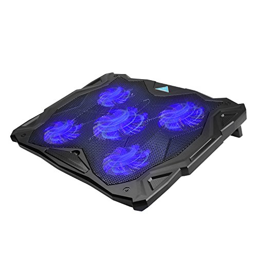 TECKNET Laptop and Notebook Cooling Pad With 5 Fans at 1500 RPM and Blue LED Laptop Cooler fits 12'-17'