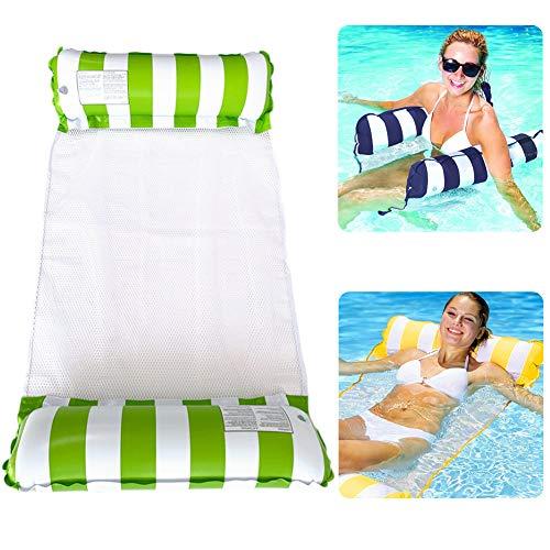 BONHHC Aufblasbare schwimmende Bett-Wasser-Matratze-Liege-Pool-Lounge-Stuhl-Klappbar-Geeignet für Pool-Party, Strand usw.-Pool-Party Essentials