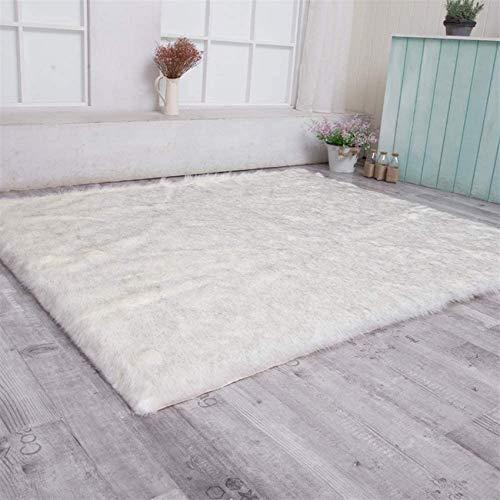 Alfombra de piel sintética suave y esponjosa de piel de oveja Shaggy alfombra rectangular para sala de estar dormitorio decoración del hogar blanco gris 80x160cm