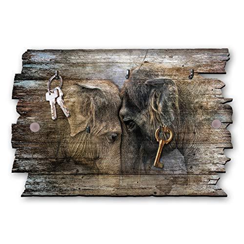 Kreative Feder Elefant Designer Schlüsselbrett, Hakenleiste Landhaus Style, Shabby aus Holz 30x20cm, HSB022