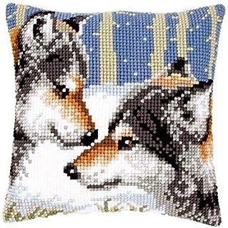 Vervaco 2 Wölfe Kreuzstichkissen/Stickkissen vorgedruckt, Baumwolle, Mehrfarbig, 40 x 40 x 0.3 cm