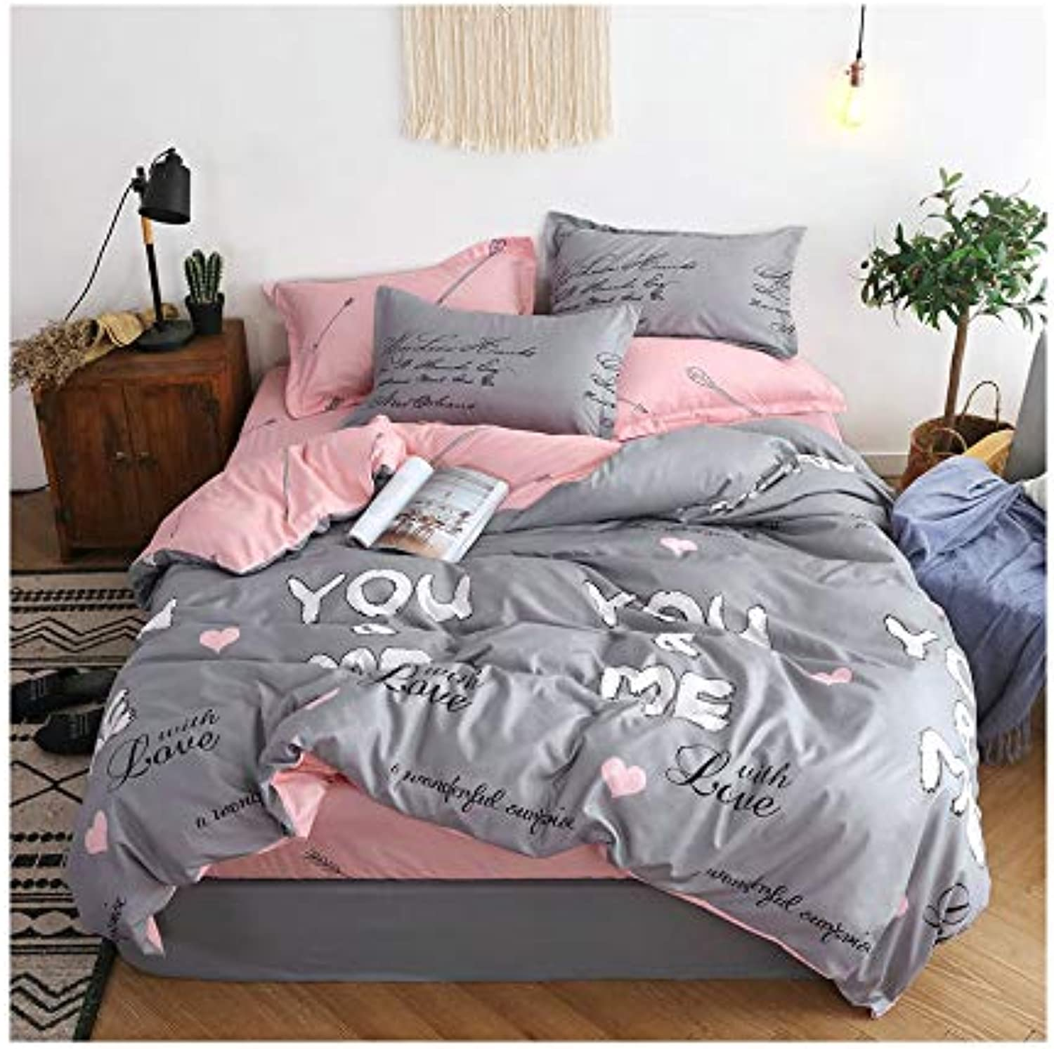 KFZ Flower Leaf Printed Bed Set BeddingSet Includes Comforter Cover Fitted Sheet Pillowcases Twin Full Queen Sheets Set Plant Design for Kids Adult 4pcs (You Me, Grey, Twin 60 x80 )