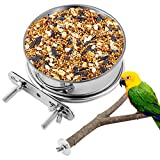 Parrot Feeding Bowl,Parrot Feeding Cups,a Holder with 2 Firm fixtures Birds Food Dish-12 cm/4.72inch Stainless Steel Bowl with Wood Bird Stand Perch for Parakeet Budgies Lovebirds and Parrot