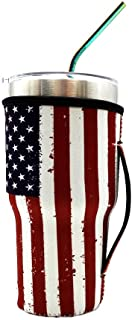 Reusable Iced Coffee Cup Sleeve Neoprene Insulated Sleeves Cup Cover Holder Idea for 30oz-32oz Tumbler Cup,Trenta Starbucks,Large Dunkin Donuts (Only Cup Sleeves) (American Flag)