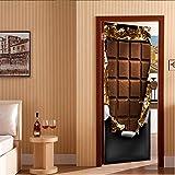 DIOPN Neue Kreative 3D Türen Pralinen Tür Aufkleber Poster Selbstklebende DIY Dekorative Wasserdichte Wandtattoo Wandbilder Tapete auf Tür (tür aufkleber 77 * 200 cm)