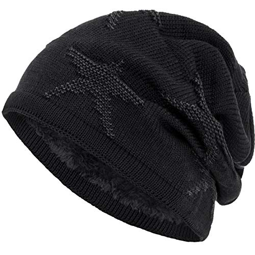 Compagno warm gefütterte Beanie Wintermütze Sternen Strickmuster mit weichem Fleece-Futter Mütze, Farbe:Schwarz Grau