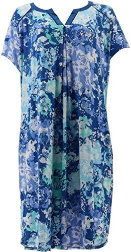 Carole Hochman Wood Block Floral Rayon Spandex Sleepshirt Set Blue L # A302156