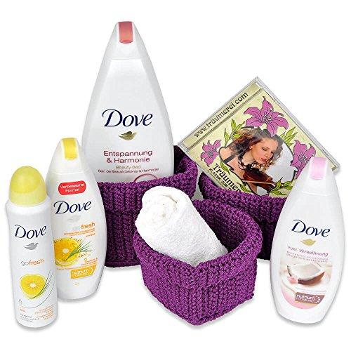 REIMA AirConcept GmbH Handverpacktes Geschenkset für Frauen Lady Harmony inklusive Dove Schaumbad sowie Duschbad Plus Deospray und entspannender Wellness CD