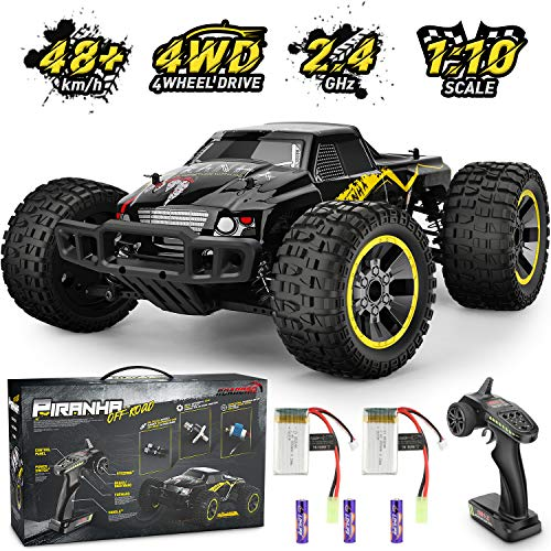 Remote Control Car,1:10 Scale RC Racing High Speed Car,4WD All Terrains Waterproof Drift Off-Road Vehicle,2.4GHz RC Road Monster Truck Included 2 Rechargeable Batteries,Toy for Boys Teens Adults