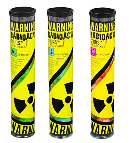 Radioactive Sours - Mega-Extrem saure Süßigkeit - Super Sauer Sour Bonbons - 3er Pack - Geschmacksrichtungen Apfel, Himbeere, Kirsche (3x52g)