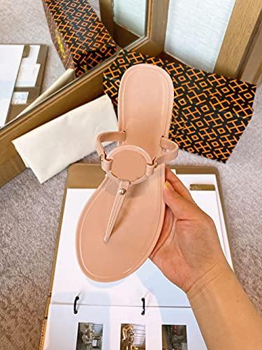 xinghui Chanclas para Mujer Palabra de PVC Playa Palabra Personas Interposición Jelly Flat Bottom Zapatillas-Color Desnudo_39
