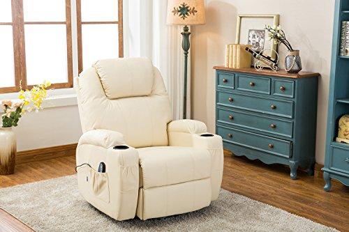 MCombo Massagesessel Fernsehsessel Relaxsessel mit Heizung Dreh 360° Schaukel, 7020, Cremweiß