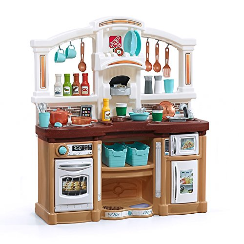 Step2 Fun with Friends Kitchen | Large Plastic Play Kitchen with Realistic Lights & Sounds | Brown Kids Kitchen Playset & 45-Pc Kitchen Accessories Set