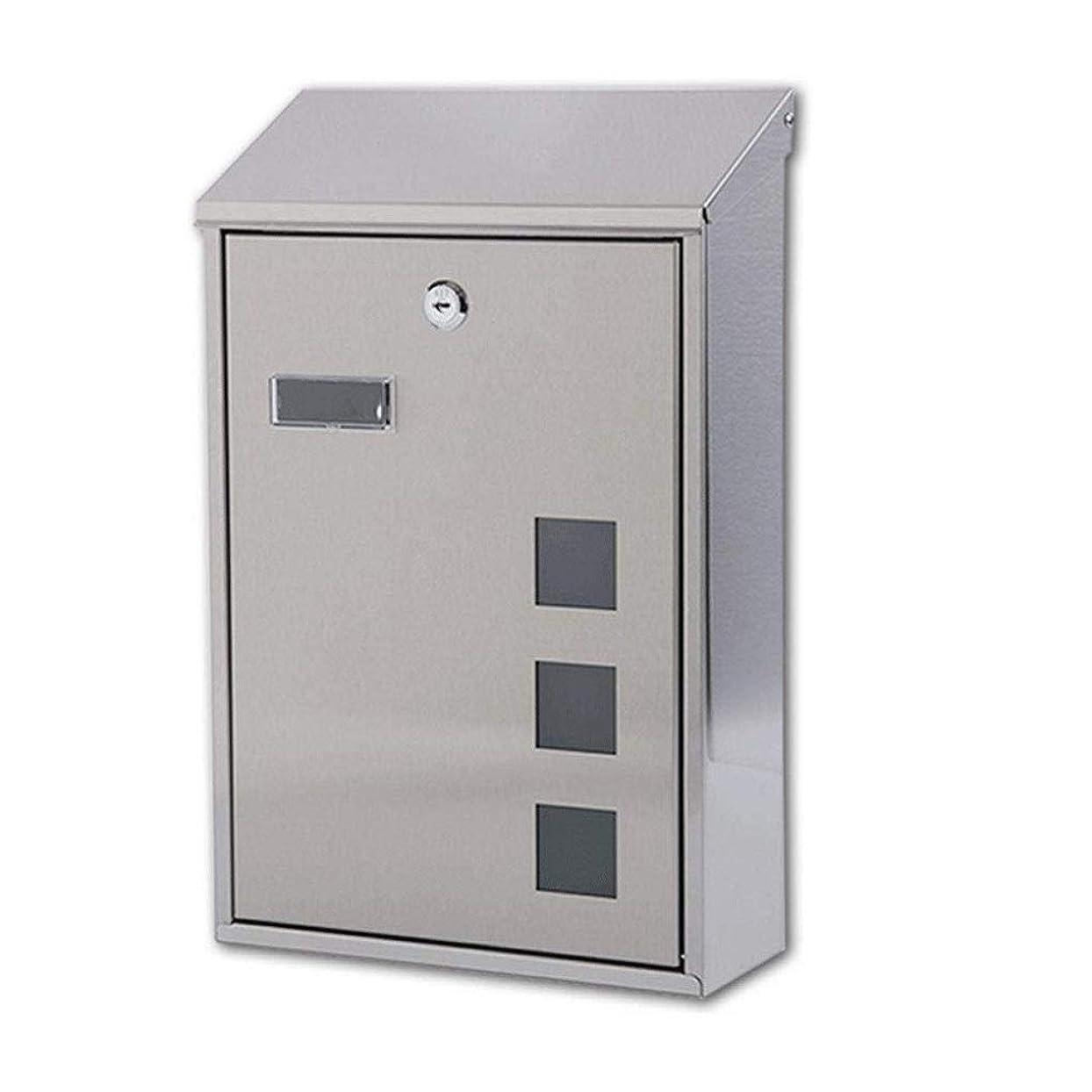 引用楽観的七時半モダンなステンレス鋼のメールボックス、ロック付き壁に取り付けられたレターボックスビューウィンドウのポストボックス、耐候性の蓋付き、39x25x10cm