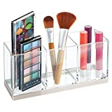mDesign Gran organizador de maquillaje con 3 compartimentos – Práctica caja clasificadora para cosméticos – Caja de maquillaje de plástico con forma cuadrada – transparente/plateado