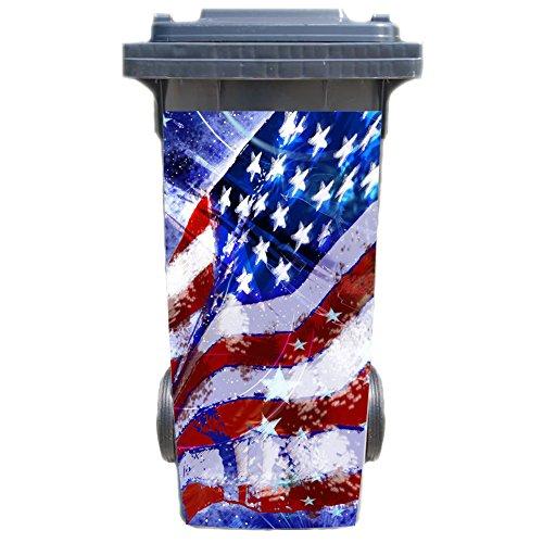 SHIRT-TO-GO Aufkleber für Mülltonne Mülltonnenaufkleber - Motiv USA